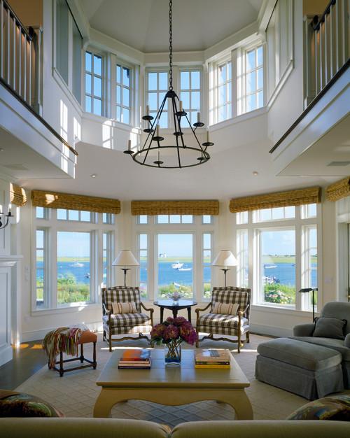 Traditional Living Room on the Lake