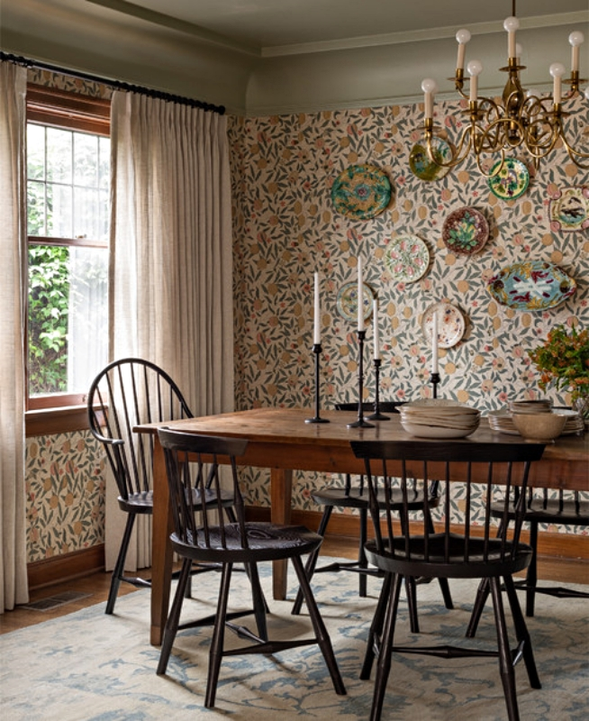 Wallpapered Dining Room with Windsor Chairs