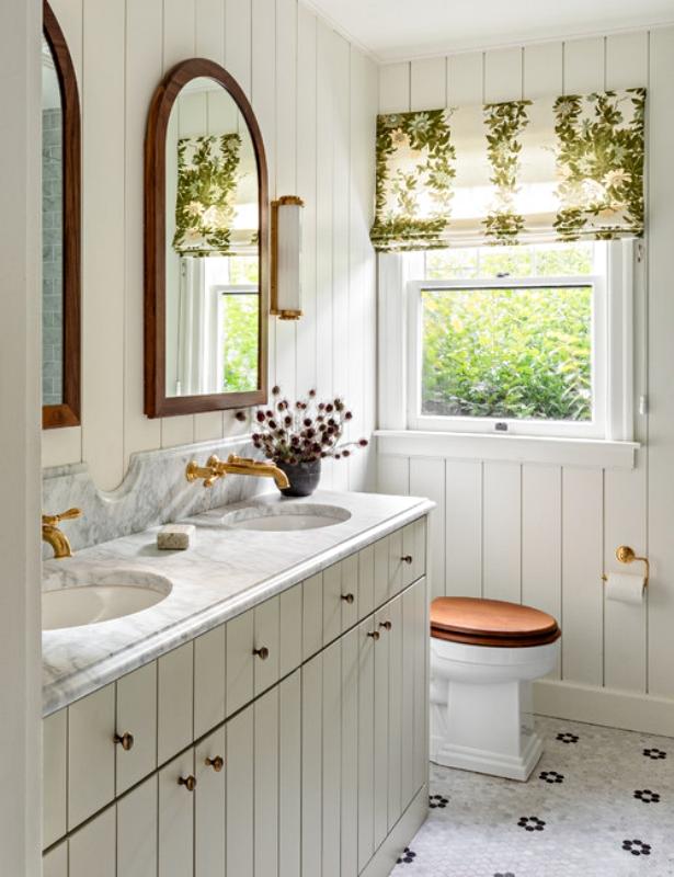 White Planked Bathroom in Seattle Tudor