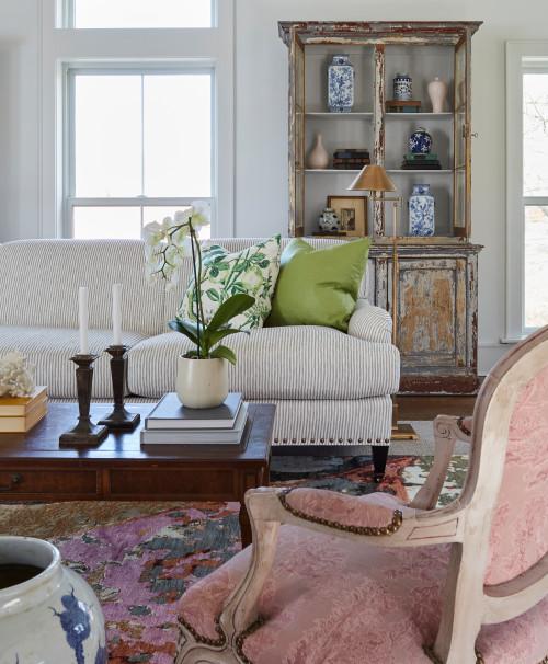 Elegant Farmhouse Living Room with Vintage Style