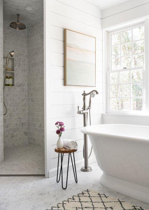 Walk-in Shower with Free Standing Bathtub