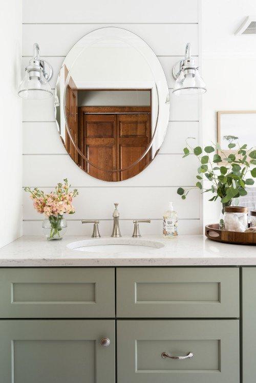 Sage Green Shaker Style Cabinet Vanity in Dream Bathroom