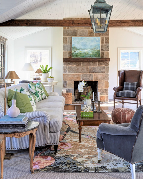 Elegant Farmhouse Living Room with Fireplace