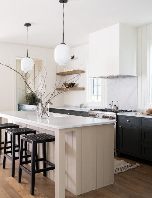Two-Tone Kitchen with Dark Lower Cabinets and Light Upper Cabinets