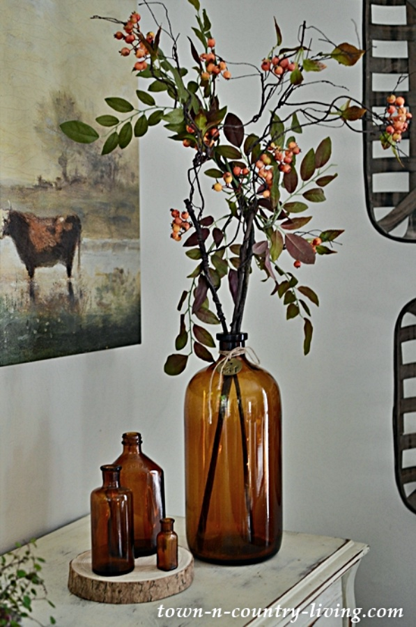 Large Vintage Amber Bottle with Fall Foliage