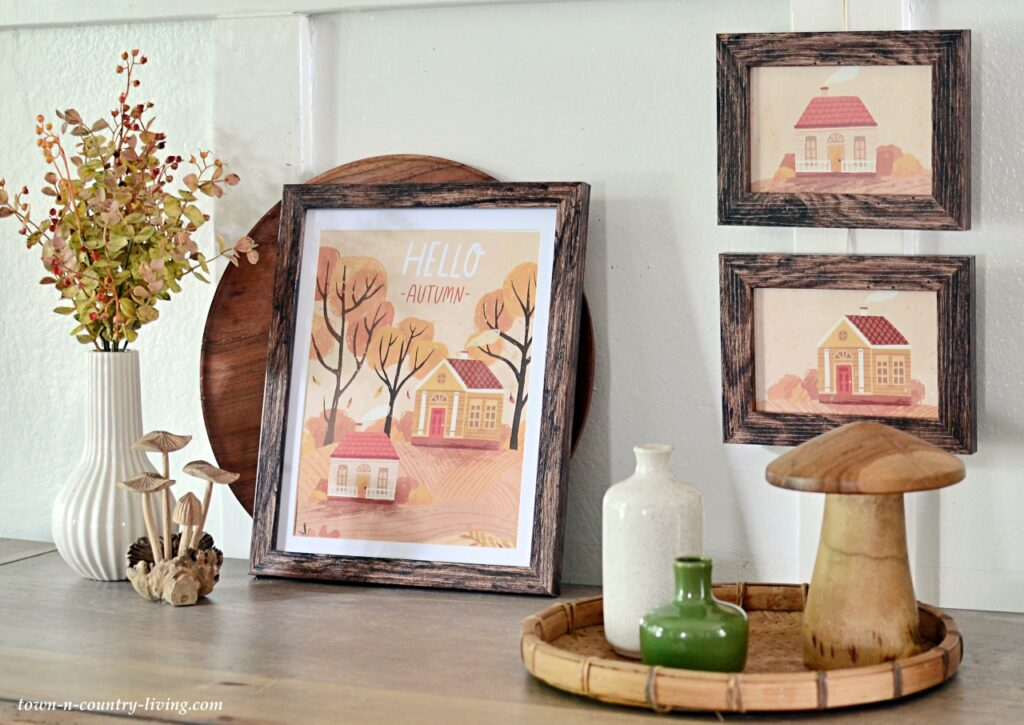 Fall Vignette with Framed Fall House Prints