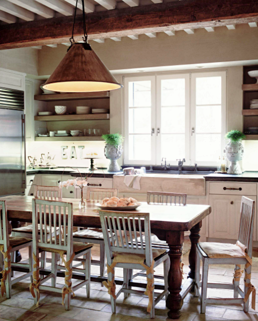 Vintage French Kitchen with Dining Area and Copper Pendant Light