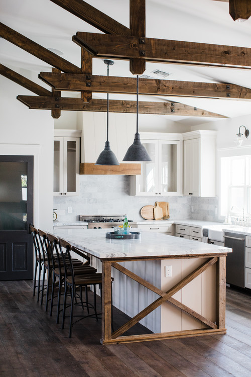 French Country Kitchen with Wood Rafters
