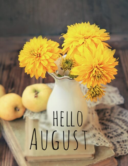 Hello August Pitcher of Flowers
