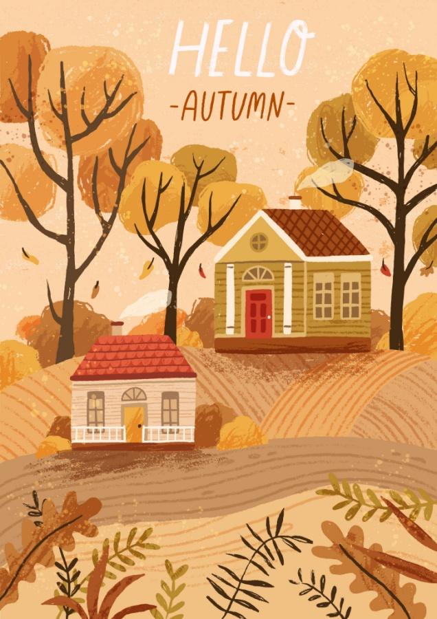 Hello Autumn Fall House Printable