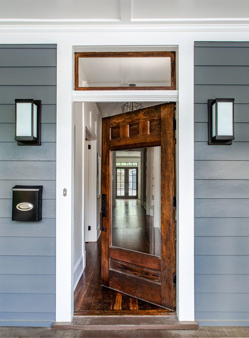 Wood Front Door with Large Glass Window