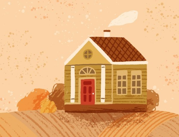 Hand drawn countryside autumn landscape with cute peasant house.