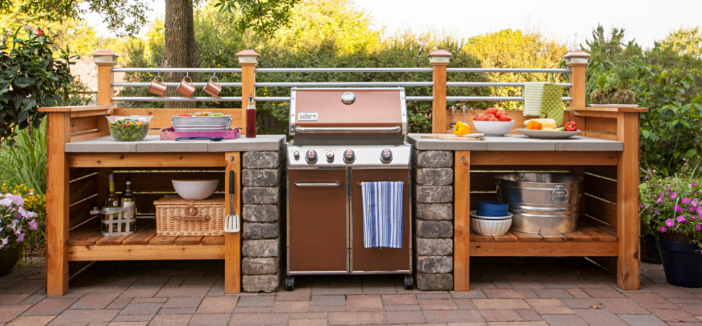 Affordable Outdoor Kitchen with Wood and Stone