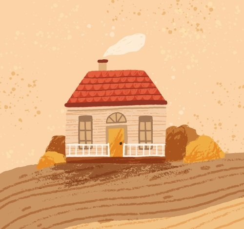 Hand drawn cozy rustic house against the landscape. Rural seasonal scenery with cute countryside cottage. Comfy farmhouse in autumn.