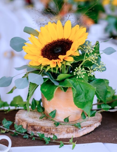 Sunflower and Greenery Centerpiece for Summer