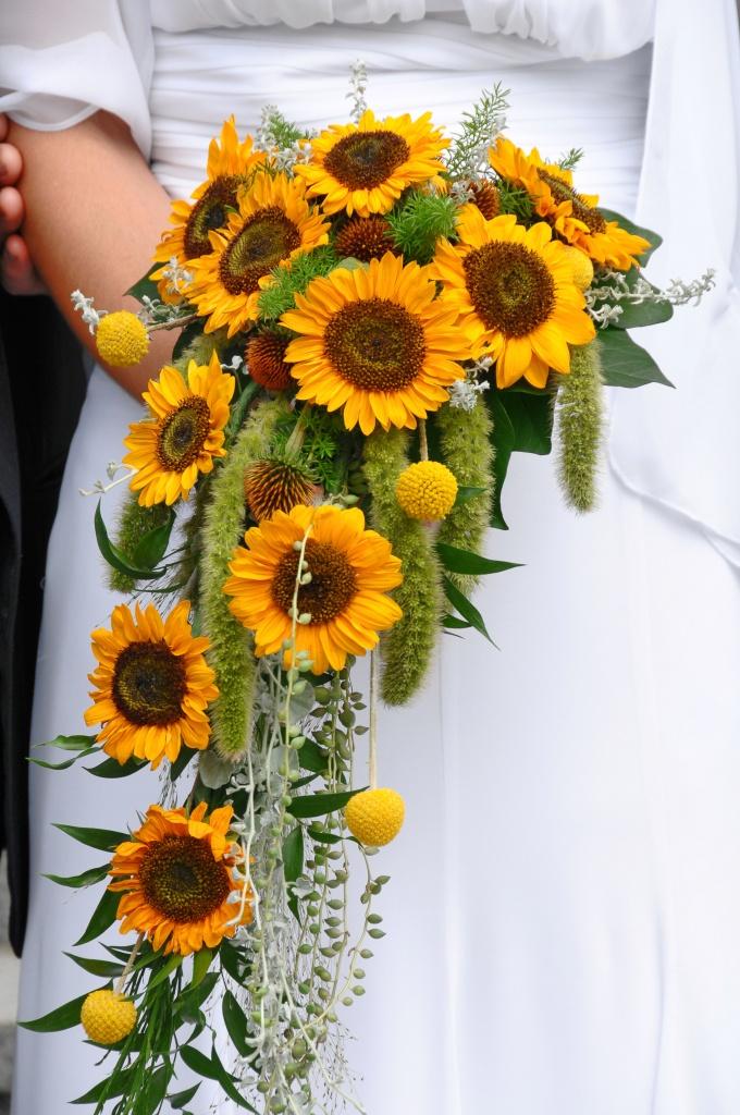 Wedding bouquet of Sunflowers