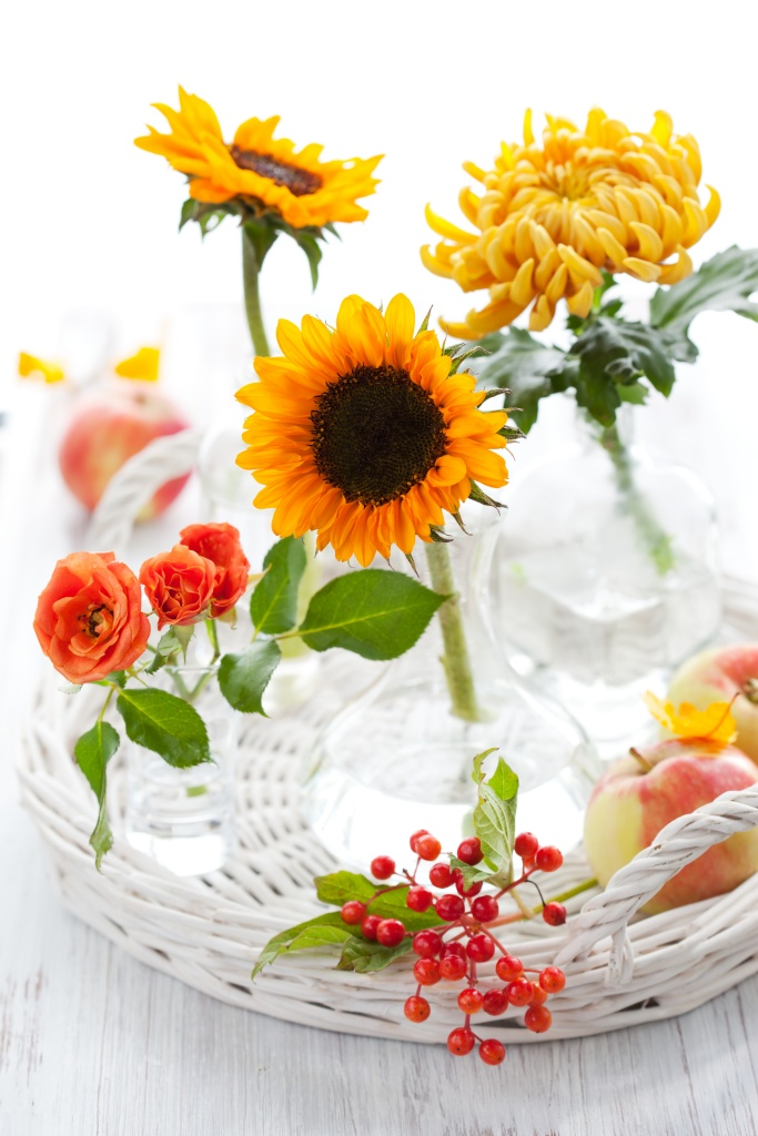 Sunflowers, roses, chrysanthemum and apples on white wicker tray