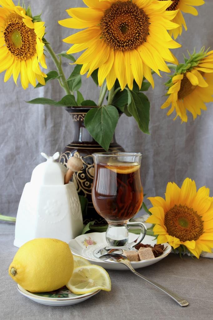 Sunflower Tea with Sunflower Arrangement