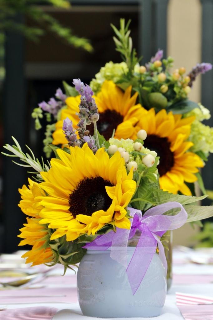 Sunflower Arrangement with Purple Statice