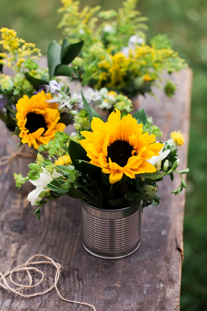 Sunflowers and Wildflowers in Tin Cans