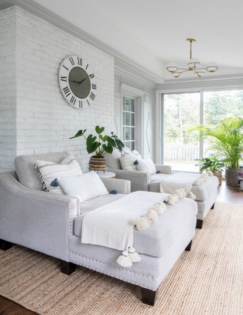 Light and Airy Sunroom with White Painted Brick Walls