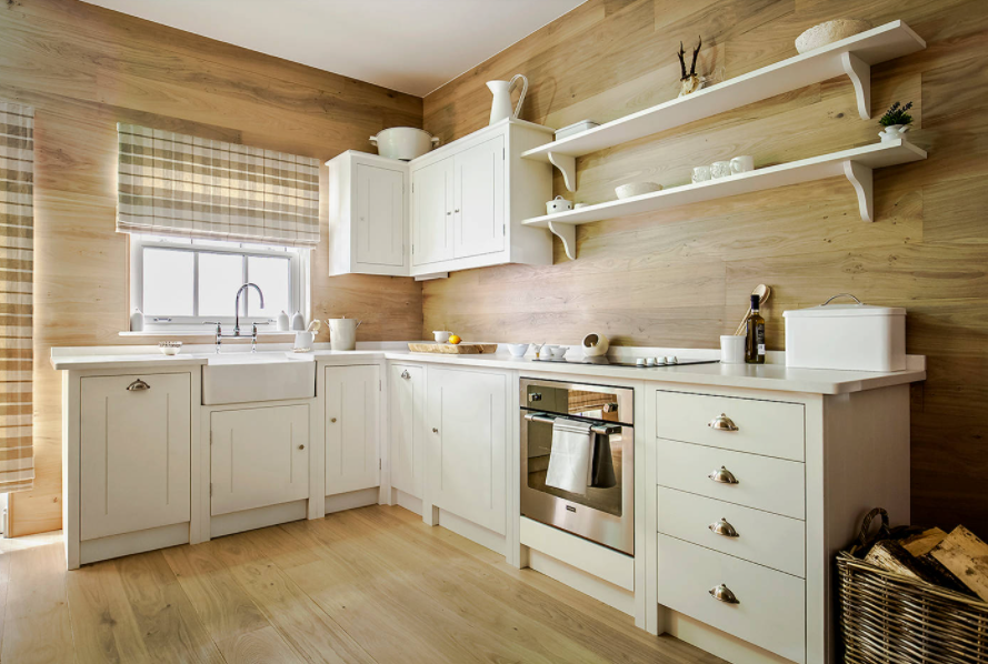 Light Wood Walls and Floor in Cozy White Kitchen