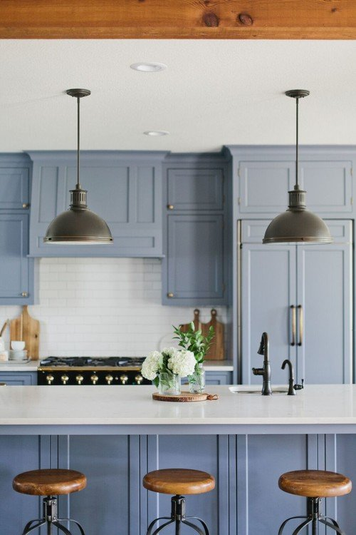 Farmhouse kitchen with blue recessed panel cabinets