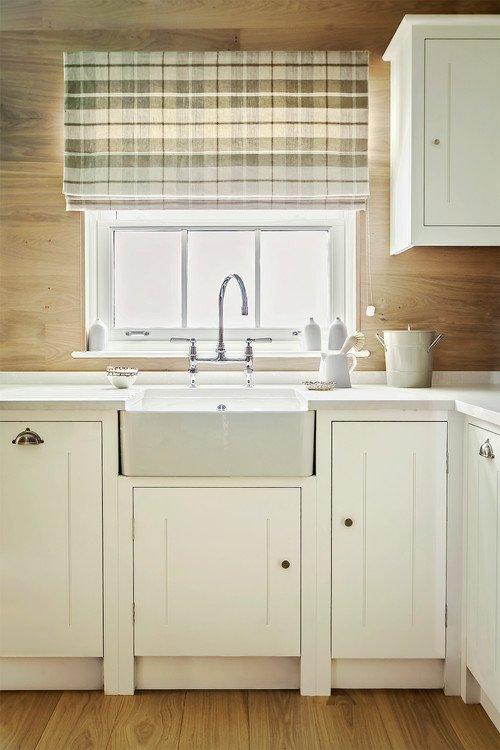 Plaid Window Valance Over Farmhouse Kitchen Sink