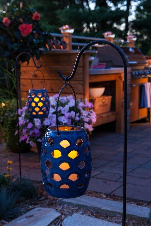 Hanging Ceramic Lantern on Outdoor Patio