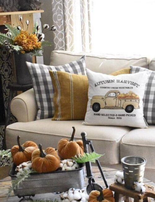 Fall Decorating - Fall Candles, Pillows, and Throws