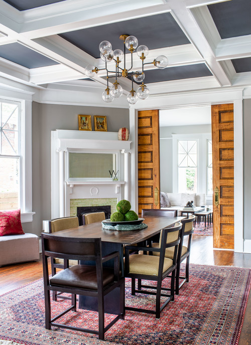 Traditional Living Room with Coffered Ceiling