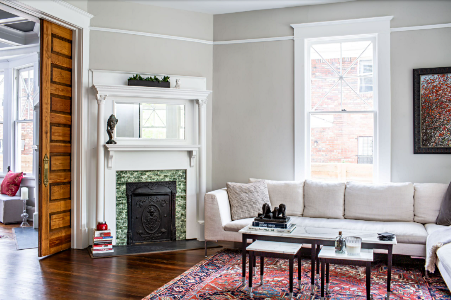 Living Room in American Foursquare Home