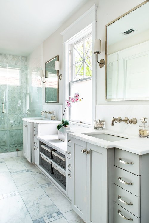 Traditional Light Gray Bathroom