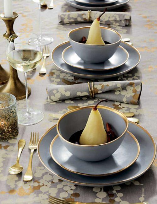 Gray Dinnerware with Gold Trim