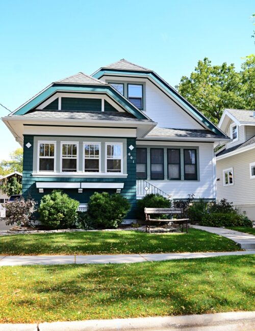 Blue and White Craftsman Style Bungalow in Madison, Wisconsin
