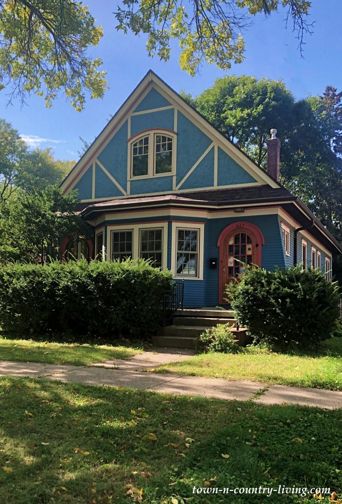 Blue Tudor Home Near Lake Monona in Madison, Wisconsin