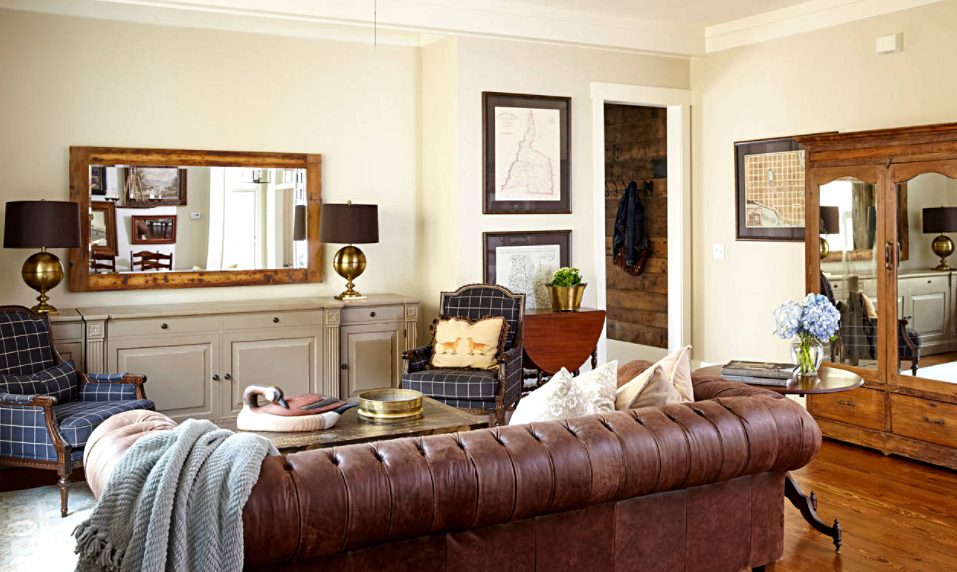 Country Style Living Room with Leather Chesterfield Sofa