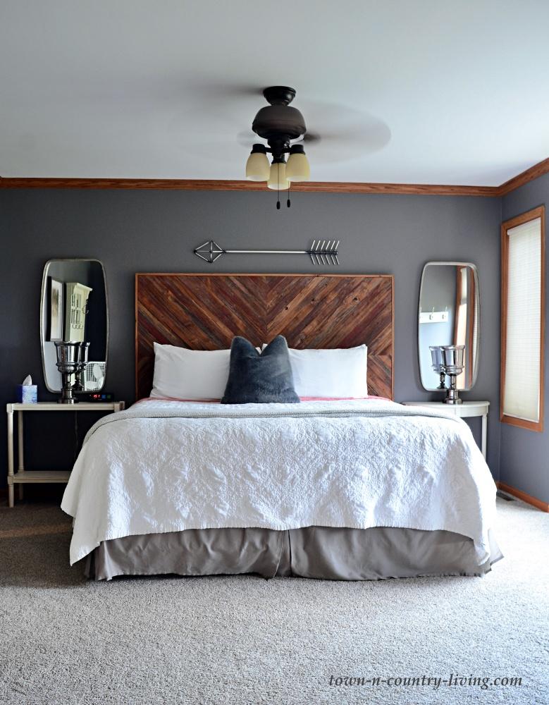 First floor master bedroom with dark gray walls
