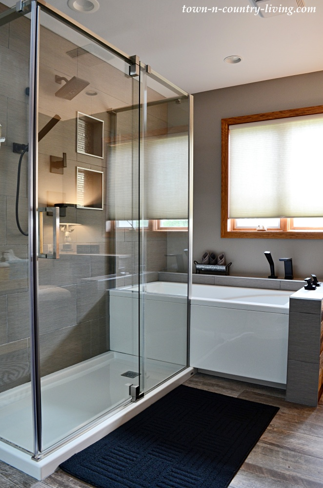Master Bathroom with Walk-In Shower and Soaking Tub