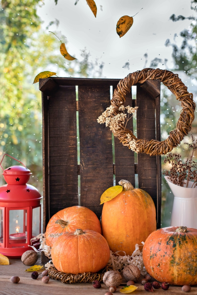 Outdoor Fall Display with Pumpkins, Crate, Grapevine Wreath, and Lantern