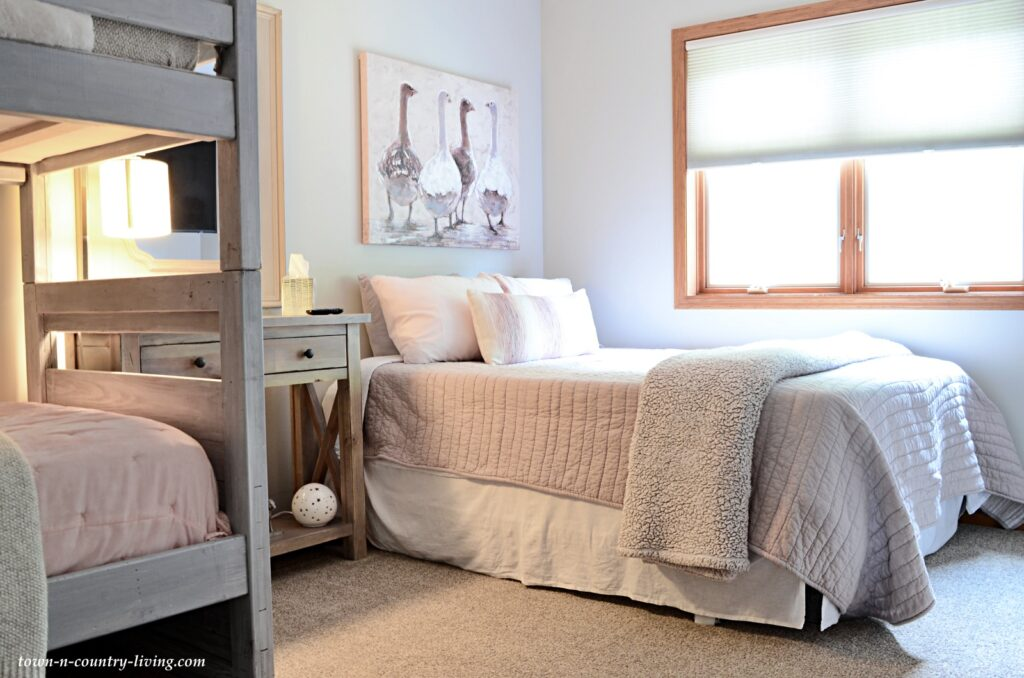 Pink and Gray Bedroom Decorated in Modern Farmhouse Style