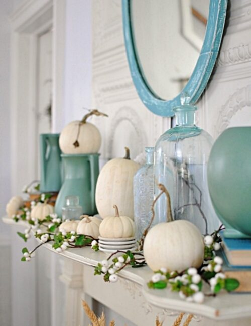 Vintage Fall Mantel in Aqua and White