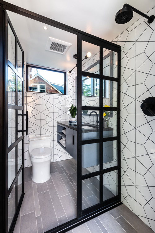 Tiny house bathroom with walk-in shower
