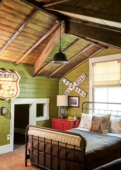 Country style green bedroom with wood ceiling and metal bed