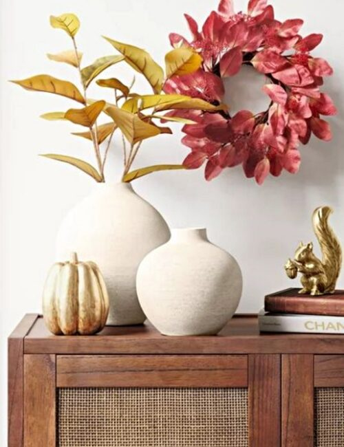 Fall wall decor - red leafed wreath