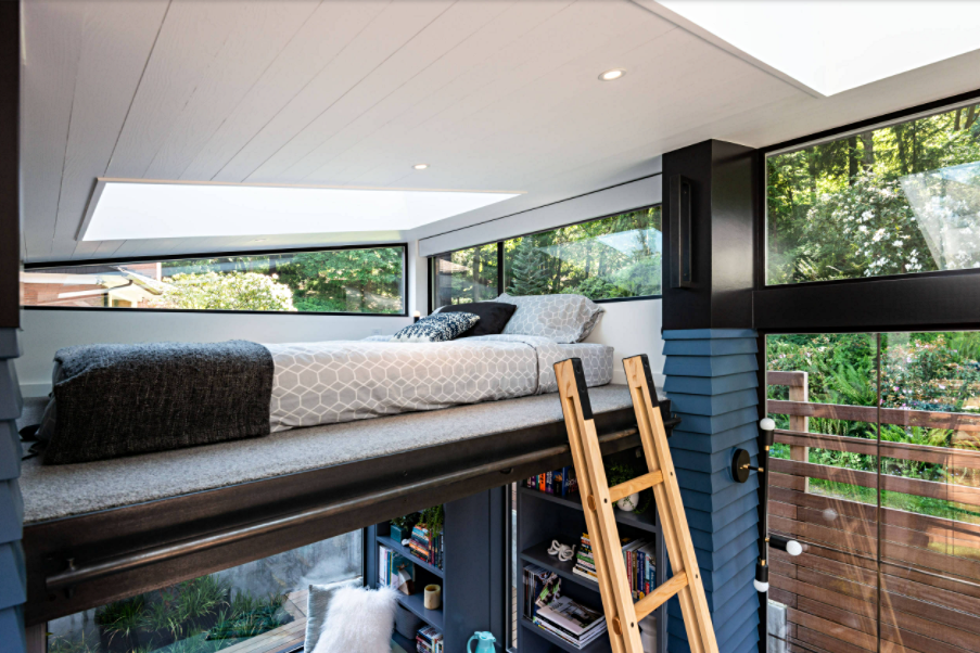 Sleeping loft in a tiny house
