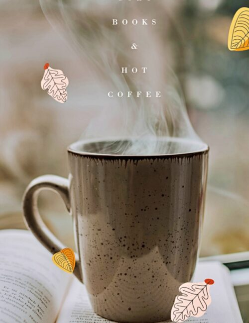 Steaming Cup of Coffee with Book
