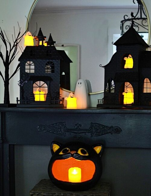 Black Halloween Mantel with Haunted Houses