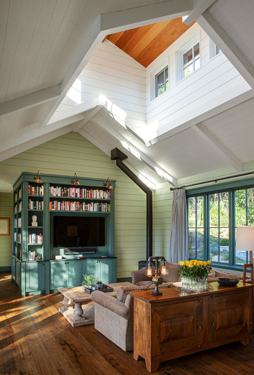 Country Style Living Room with Vaulted Ceiling and Wood Floors