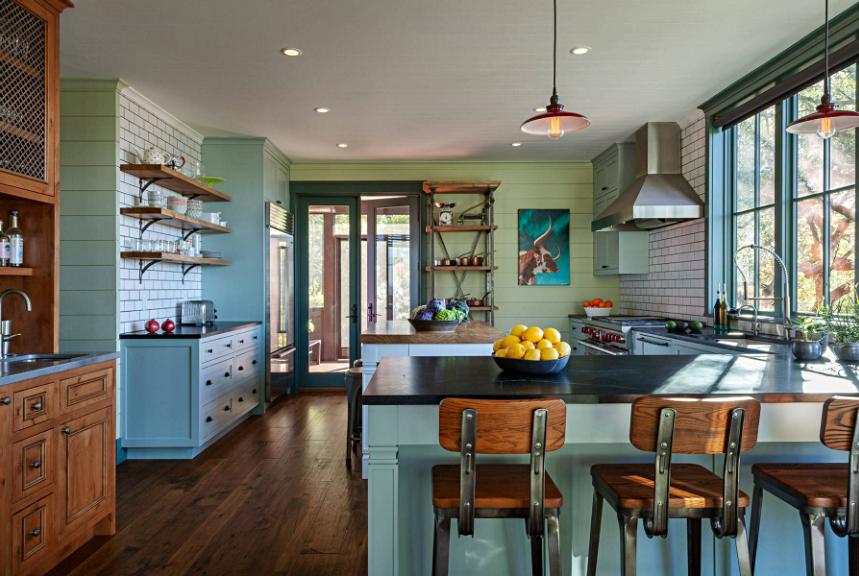 Painted Shiplap Walls in Modern Farmhouse Kitchen